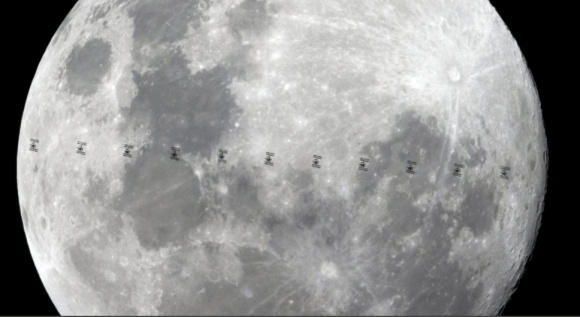 Moon with international space station passing